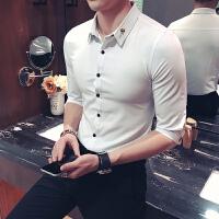男士七分袖衬衫韩版修身玫瑰刺绣花衬衣中袖纯色小领发型师服装男