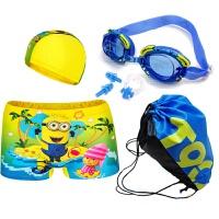 儿童泳裤带泳帽男童可爱卡通平角泳裤小中大童泳衣婴儿宝宝 黄色 小黄人套餐