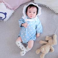 婴儿女童连体衣长袖春秋冬季装春款男女宝宝哈衣新生儿衣服爬服