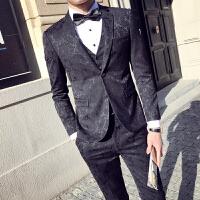 西服套装男士韩版修身迷彩西装三件套时尚青年发型师婚礼服夜店潮