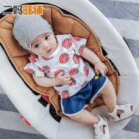 儿童夏装欧美童装3-6-9个月宝宝卡通印花衣服女童T恤婴儿纯棉上衣