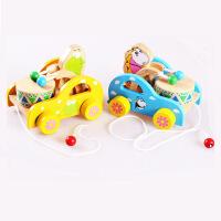 木制小熊敲鼓拖拉车玩具宝宝拖拉学步玩具拉绳拖车益智