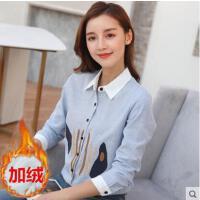 衬衫女长袖中长款户外新品网红同款新款加绒加厚韩版宽松刺绣百搭打底衬衣