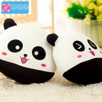咔噜噜 快乐黑白熊猫 靠垫抱枕 家居车载 生日礼物 女生 毛绒玩具 创意玩偶   情人节礼物