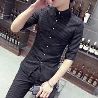 夏季短袖衬衫男士商务条纹七分袖衬衣青年韩版修身寸衫休闲打底衫