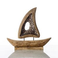 奇居良品 印度进口家居装饰品摆件 安德斯复古木制帆船摆件
