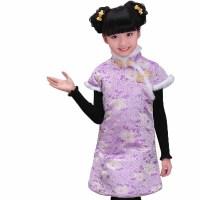儿童唐装女童棉旗袍过年贺岁装三五兔毛提花织锦 棉服
