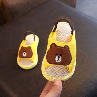 1-4岁宝宝亚麻布拖鞋春秋季男女儿童卡通�滑软底夏天小孩家居鞋