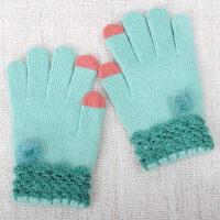 女冬毛线手套女冬可爱保暖学生写字玩手机兔毛可触屏手套
