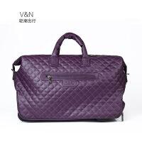 手提拉杆包旅行包防水行李袋登机包女休闲皮箱男18寸韩版 紫色 配件终身保修 中