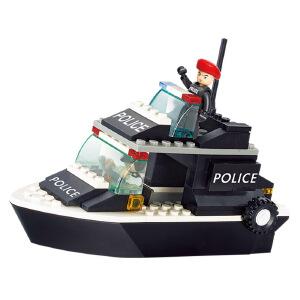 【当当自营】小鲁班防暴特警系列儿童益智拼装积木玩具 巡逻艇M38-B1700