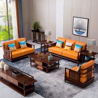 别墅禅意新中式布艺客厅沙发组合套装现代中式全实木家具中国风M1 组合