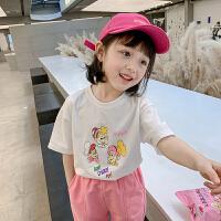 女童短袖T恤春秋小女孩洋气宽松白色儿童打底衫