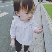 秋冬女宝宝长袖衬衫纯棉荷叶领打底衫1岁婴儿2-3岁翻领上衣