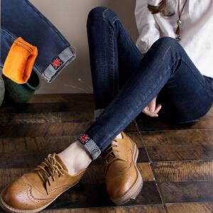 加绒加厚牛仔裤女长裤弹力修身显瘦小脚裤带绒铅笔裤子女裤外穿韩