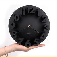 创意家居挂钟 三维立体数字静音创意钟表 客厅艺术3D挂钟 黑色
