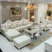 欧式布艺沙发转角组合小户型客厅家具整套简欧布艺沙发L贵妃实木