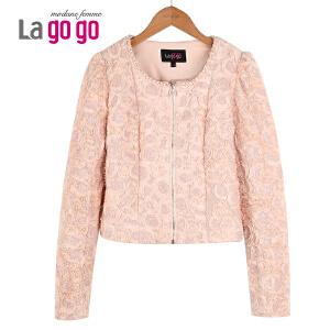 Lagogo/拉谷谷春装新款钉珠花朵图案简约时尚外套