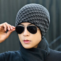 帽子男士针织毛线帽加绒加厚套头帽时尚保暖青年户外骑行棉帽