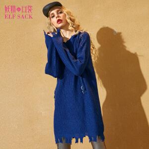 妖精的口袋魔法拼图秋冬装新款毛边宽松连帽长袖连衣裙女