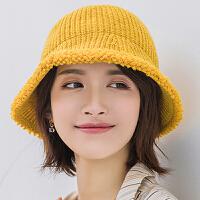 渔夫帽 女士复古保暖渔夫帽2020冬季新款女式时尚针织毛线帽学生文艺荷边帽