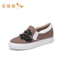 红蜻蜓女鞋新款时尚舒适简约一脚蹬舒适轻便休闲低跟女单鞋---