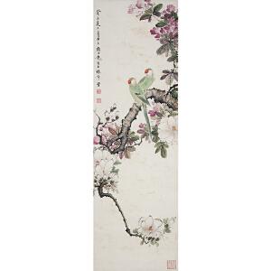 W1894 颜伯龙《鹦鹉》(北京文物公司旧藏、原装旧裱、满斑)