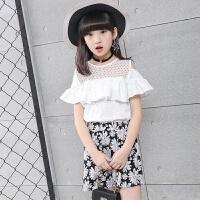 女童2018新款套装夏装中大小童休闲镂空上衣套装女孩裙子两件套潮 白色 偏小半码