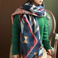 长款流苏围脖围巾女士逛街出游冬天保暖韩版几何图案披肩