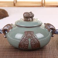 思故轩 哥窑普洱茶叶罐包装盒储茶罐储物罐大号密封罐带盖陶瓷罐子大茶缸CYG3681