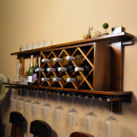 实木酒柜壁挂酒架挂墙餐厅墙上置物架现代简约墙壁式红酒格子菱形