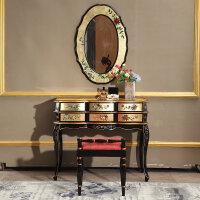 新中式八斗柜实木收纳柜新古典彩绘贴金箔手储物柜客厅 整装