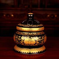 佛具陶瓷新唐彩莲花唐纹檀香净炉盘香熏香炉香道佛教用品