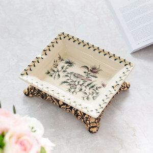 奇居良品 欧式客厅家居装饰摆件 绿鸟春意裂纹贴花陶瓷长方形烟灰缸