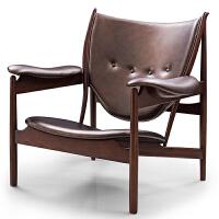北欧家具实木休闲椅经典餐厅椅子美式乡村复古风格咖啡椅餐椅
