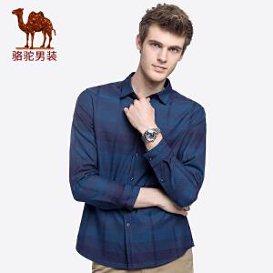 骆驼男装 秋季新款青年时尚修身色织格子上衣休闲长袖衬衫男