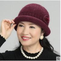 中老年帽子女针织老人帽兔毛老太太毛线保暖妈妈帽围巾