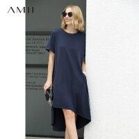 AMII极简chic欧洲站大码连衣裙2018夏季圆领短袖织带装饰不规则裙