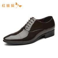红蜻蜓男鞋商务正装休闲韩版英伦真皮男士内增高男皮鞋-