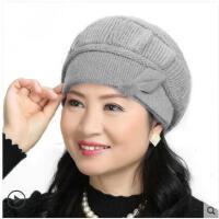 中老年帽子女加厚毛线针织帽围巾贝雷帽女潮百搭兔毛妈妈帽