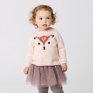 davebella戴维贝拉秋季女童针织衫 女宝卡通粉色套头毛衣DB5903