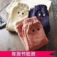 保暖实用~女童休闲长裤加绒加绒 2017冬季新款韩版灯芯绒外穿棉裤
