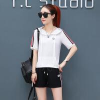 运动休闲套装女夏2018新款韩版时尚连帽短袖T恤短裤两件套潮