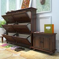 美式鞋柜可定制实木现代简约小户型客厅玄关翻斗超薄储物柜多功能 整装