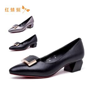 【专柜正品】红蜻蜓尖头个性方扣时尚异型跟百搭女单鞋