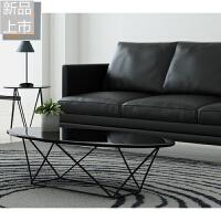 新款设计师家具铁艺客厅沙发实木玻璃茶几仿古做旧椭圆桌创意茶几定制 整装
