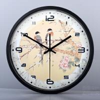 田园艺术新中式钟简约书房风雅装饰钟表古典花鸟客厅静音挂钟
