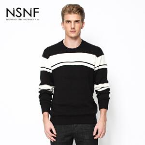 NSNF时尚简约条纹撞色圆领黑色男士毛衫 2017秋冬新款