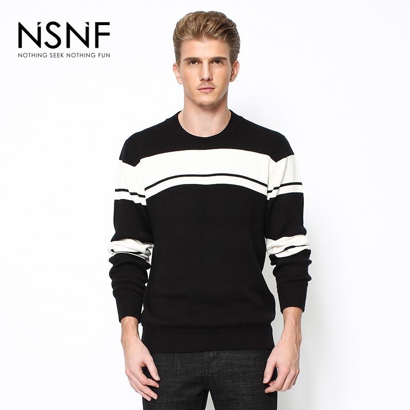 NSNF时尚简约条纹撞色圆领黑色男士毛衫 2017秋冬新款 当当自营 高品质设计师潮牌