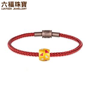 六福珠宝足金串珠*叶黄金珐琅串珠定价